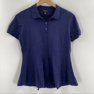 Halogen- Blue Peplum Polo Top